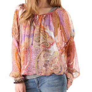 Like New! Haute Hippie Silk Floral Paisley Top M